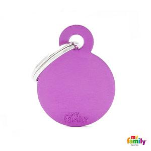 Koiran tai kissan nimilaatta kaiverruksella - EXTRA vahva Alumiini pieni ympyrä, violetti