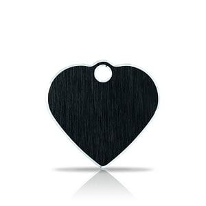 Nimilaatta kaiverruksella - Hi-line Alumiini pieni sydän, musta