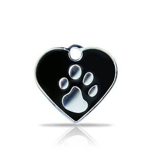 Kaiverrettu koiran nimilaatta fashion-tassu pieni sydän hopeoitu, musta