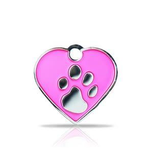 Kaiverrettu koiran nimilaatta fashion-tassu pieni sydän hopeoitu, pinkki