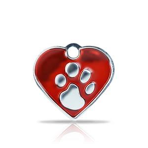 Kaiverrettu koiran nimilaatta fashion-tassu pieni sydän hopeoitu, punainen