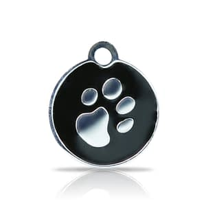 Kaiverrettu koiran nimilaatta fashion-tassu pieni ympyrä hopeoitu, musta