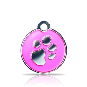 Kaiverrettu koiran nimilaatta fashion-tassu pieni ympyrä hopeoitu, pinkki