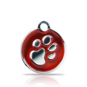 Kaiverrettu koiran nimilaatta fashion-tassu pieni ympyrä hopeoitu, punainen