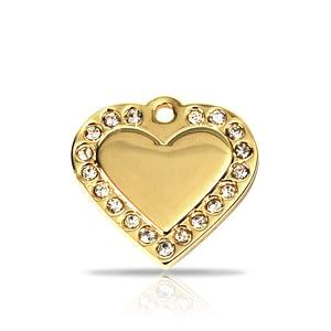 Kaiverrettu nimilaatta - Glamour kullattu pieni sydän, kirkkaat strassit