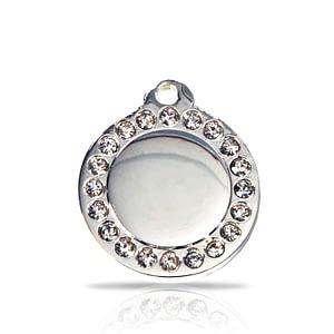 Kaiverrettu nimilaatta - Glamour hopeoitu pieni ympyrä, kirkkaat strassit