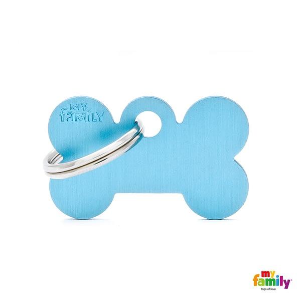 Koiran Nimilaatta kaiverruksella - EXTRA vahva Alumiini pieni luu, vaaleansininen