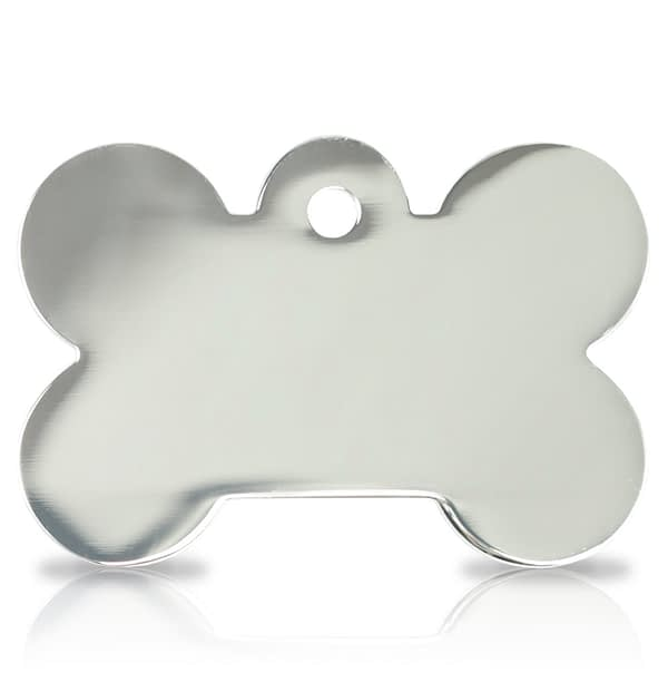 Kaiverrettu koiran nimilaatta ISO luu, hopeoitu