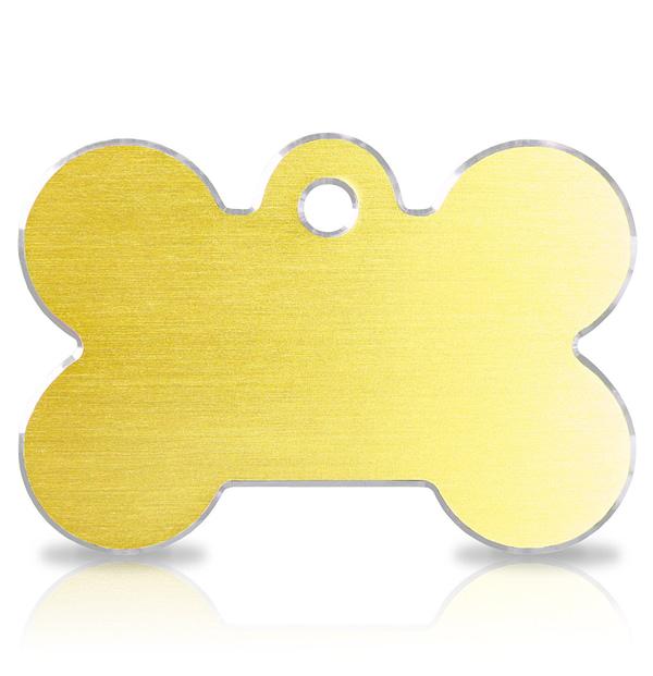 Koiran nimilaatta kaiverruksella - Hi-line Alumiini ISO luu, kulta