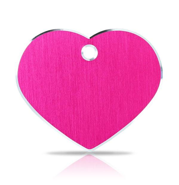 Koiran nimilaatta kaiverruksella - Hi-line Alumiini ISO sydän, pinkki