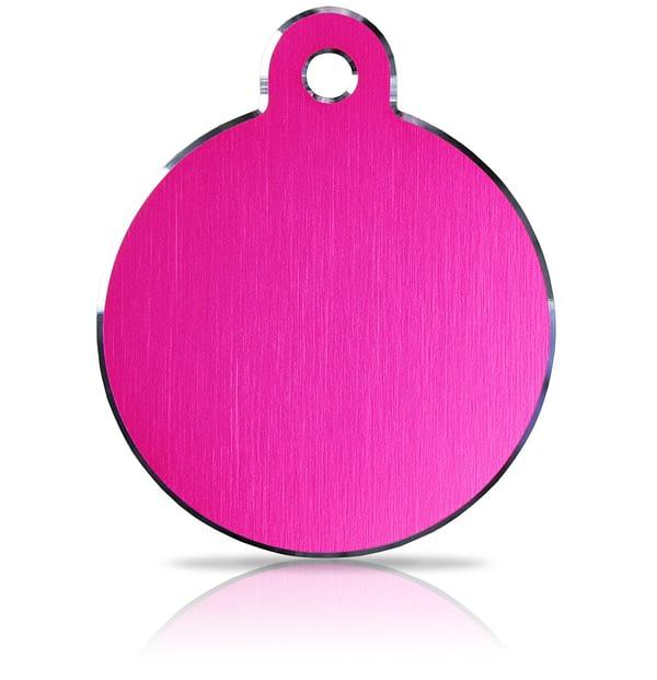 Koiran nimilaatta kaiverruksella - Hi-line Alumiini ISO ympyrä, pinkki