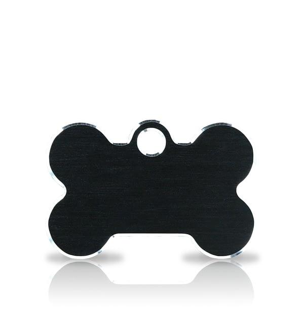 Koiran nimilaatta kaiverruksella - Hi-line Alumiini pieni luu, musta
