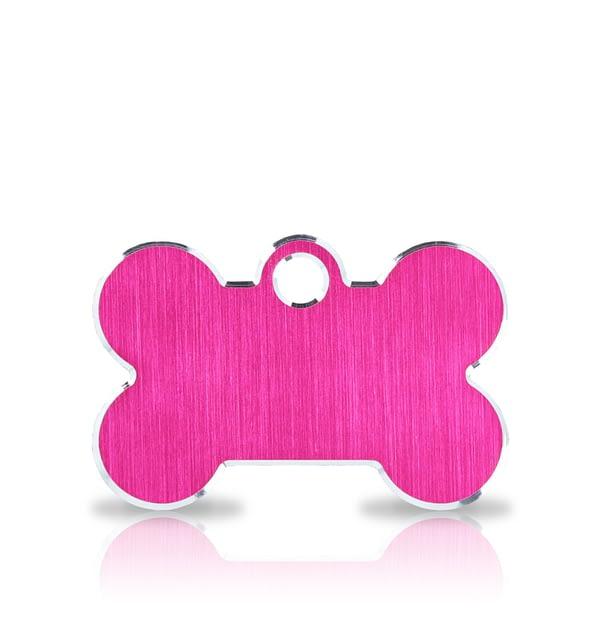 Koiran nimilaatta kaiverruksella - Hi-line Alumiini pieni luu, pinkki
