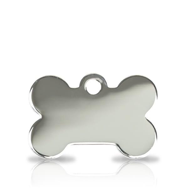 Kaiverrettu koiran nimilaatta pieni luu, hopeoitu