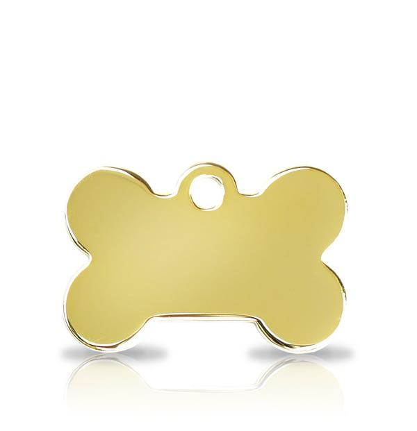 Kaiverrettu koiran nimilaatta pieni luu, kullattu