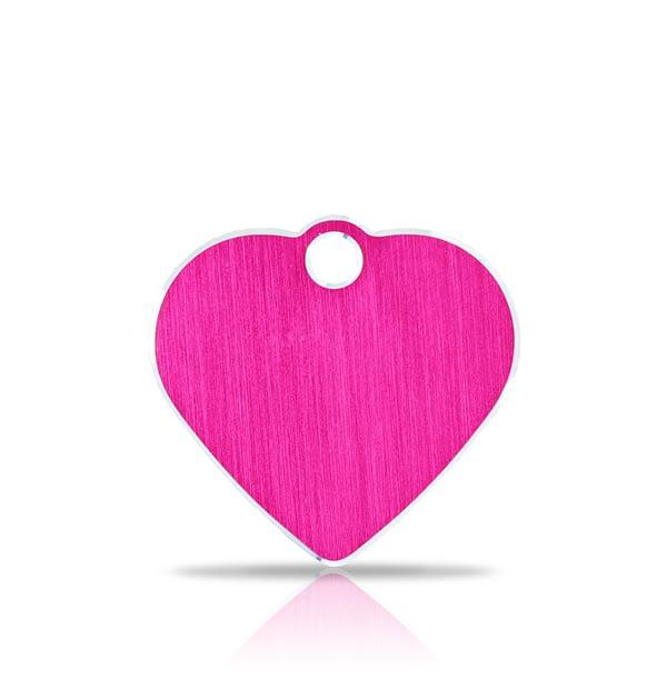 Nimilaatta kaiverruksella - Hi-line Alumiini pieni sydän, pinkki
