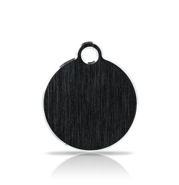 Nimilaatta kaiverruksella - Hi-line Alumiini pieni ympyrä, musta