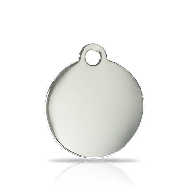 Kaiverrettu nimilaatta pieni ympyrä, hopeoitu