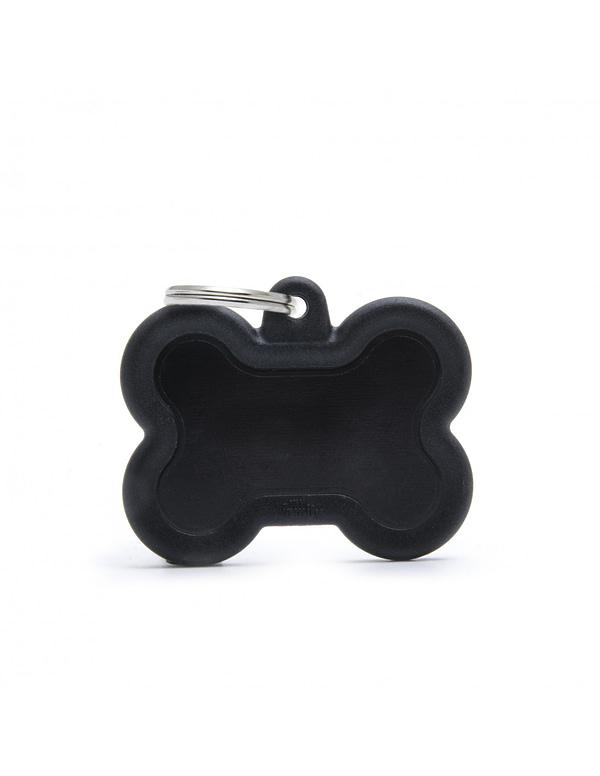 """Koiran nimilaatta kaiverruksella - Äänetön """"HUSHTAG"""" Alumiini iso luu, musta"""