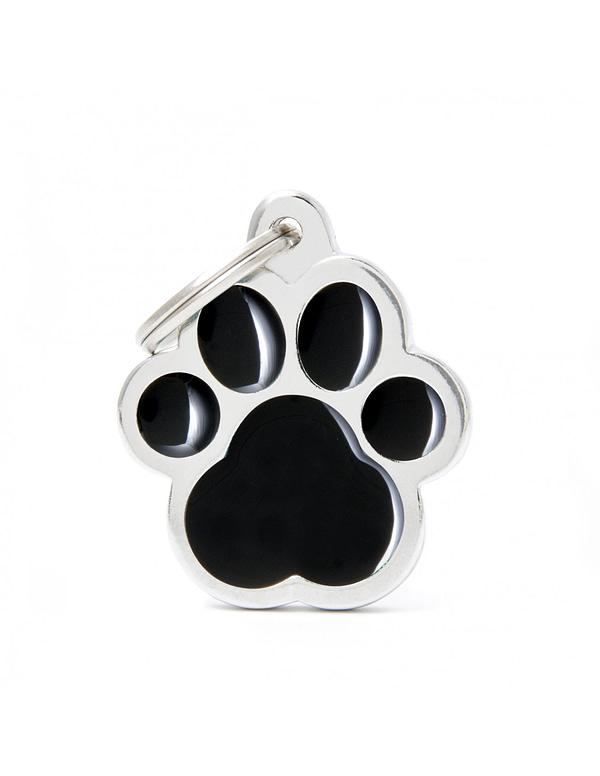 Kaiverrettu koiran nimilaatta - CLASSIC ISO tassu, musta