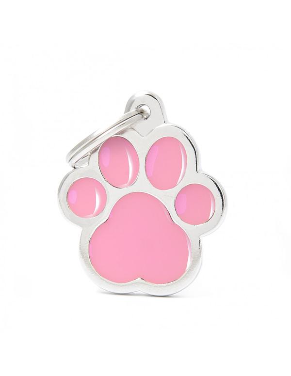 Kaiverrettu koiran nimilaatta - CLASSIC ISO tassu, pinkki