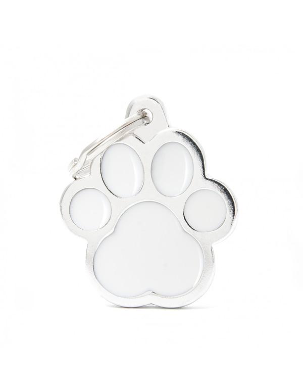 Kaiverrettu koiran nimilaatta - CLASSIC ISO tassu, valkoinen