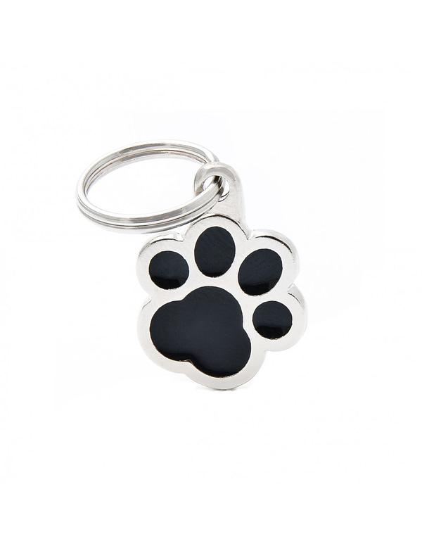 Kaiverrettu koiran nimilaatta - CLASSIC pieni tassu, musta
