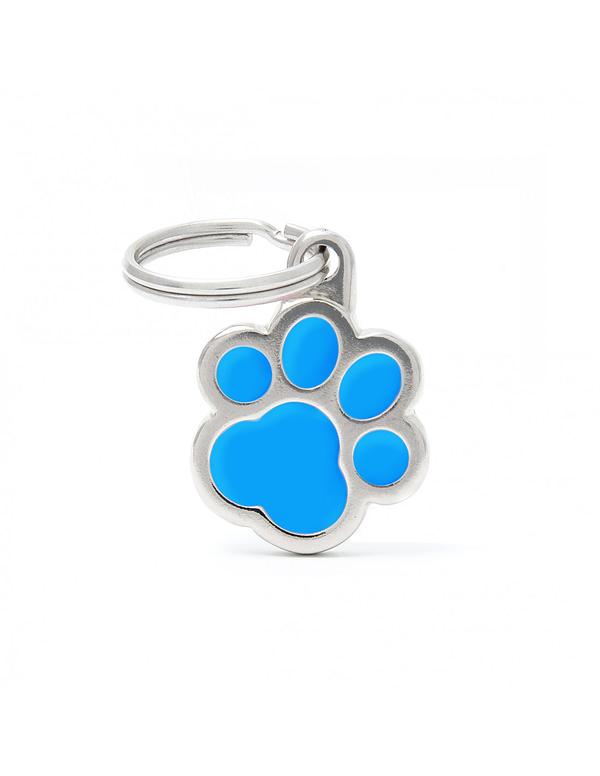 Kaiverrettu koiran nimilaatta - CLASSIC pieni tassu, turkoosi