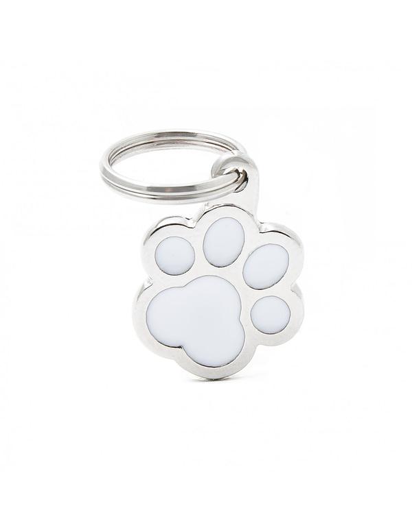 Kaiverrettu koiran nimilaatta - CLASSIC pieni tassu, valkoinen