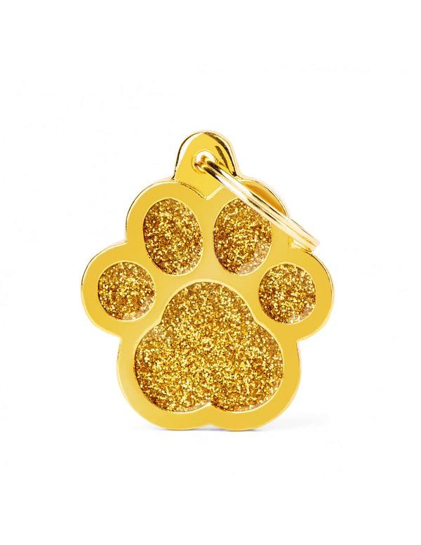 Kaiverrettu koiran nimilaatta - GLITTER ISO tassu, kulta