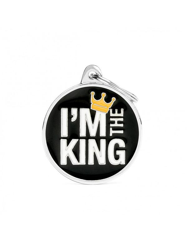 "Kaiverrettu nimilaatta tai avaimenperä - CHARMS iso ympyrä ""i am the king"", my family"