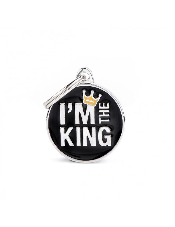 """Kaiverrettu nimilaatta tai avaimenperä - CHARMS keskikoinen ympyrä """"i am the king"""", my family"""