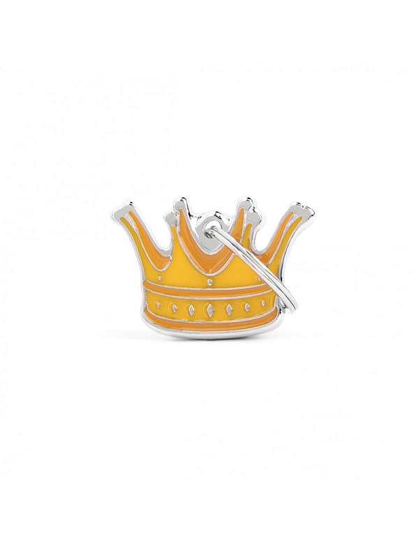 Kaiverrettu nimilaatta tai avaimenperä - CHARMS keskikokoinen kruunu, my family