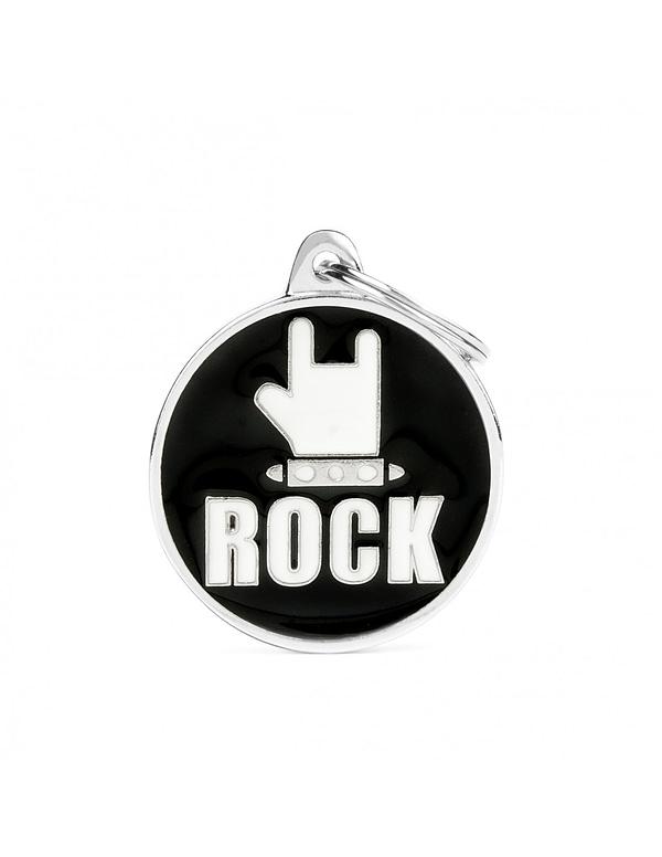 """Kaiverrettu nimilaatta tai avaimenperä - CHARMS iso ympyrä """"rock"""", my family"""