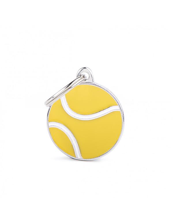 Kaiverrettu nimilaatta tai avaimenperä - CHARMS pieni tennispallo, my family